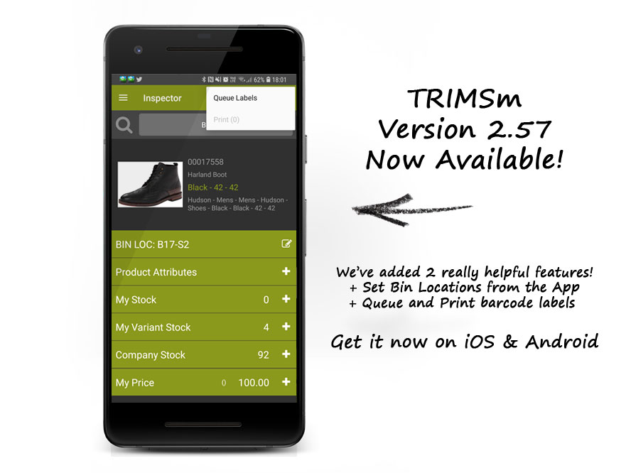 Set Bin Locations and Print Labels directly from TRIMSm in v2.57
